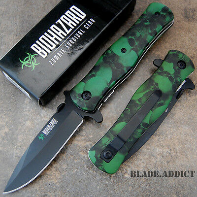 """8"""" Green Zombie BIOHAZARD Tactical Spring Assisted Open Pocket Knife 9503SGN-U"""