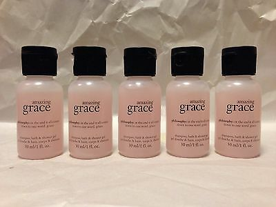 "philosophy - ""amazing grace"" shampoo, bath & shower gel (1oz. size x 5) NEW"