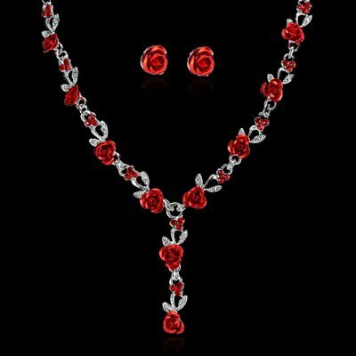 Women Rose Flower Wedding Bridal Bride Crystal Necklace Earrings Jewelry Set Hot
