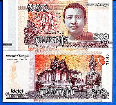 Cambodia P-New 100 Riels Year 2014 Monk Uncirculated Banknote