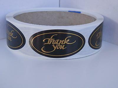 THANK YOU 1x2 oval  Stickers Labels bright gold letters black bkgd 250/rl