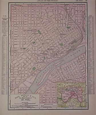 1895 St. Paul Mn. Dated Color Atlas map* Minneapolis on back.  120 years old!