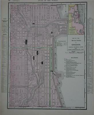 1898 Chicago, Ill. Original Dated Color Atlas Map*  Illinois on bk.. 117 yrs-old