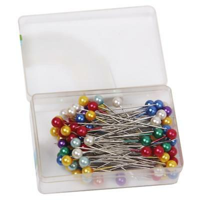 Boxed 80 Assorted PEARL HEADED PINS DRESS MAKING WEDDINGS CRAFT FLORISTS ETC