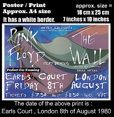 Pink Floyd live concert Earls Court London 8th August 1980 A4 size poster print