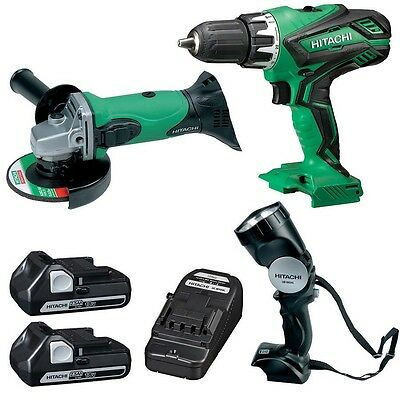 Hitachi 3 Piece 18V Engineers Kit Impact Driver, Grinder and Torch