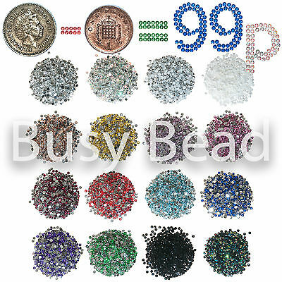 1000 x Flat Back Rhinestones 2mm to 5mm Resin Diamante Gems - All sizes 99p