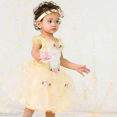 Girls Baby Toddler Disney Princess Belle Beauty Beast Fancy Dress Costume Outfit