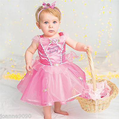 *baby Toddler Disney Princess Aurora Sleeping Beauty Fancy Dress Costume Outfit*