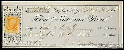 Obsolete Bank Check First National Bank Sing Sing NY 1866 Max Prison? (7951).
