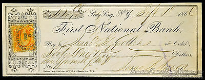 Obsolete Bank Check First National Bank Sing Sing NY 1866 Max Prison?.
