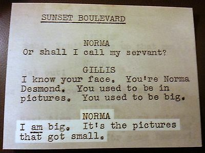SUNSET BOULEVARD POSTCARD From The Original 1949 Screenplay by Billy Wilder!