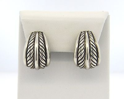 David Yurman Thoroughbred Sterling Silver Large Cable Earrings $325