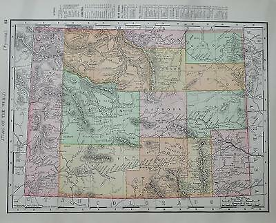1901 Wyoming Antique Dated Color Atlas Map*  Utah map on back ..114 years-old!