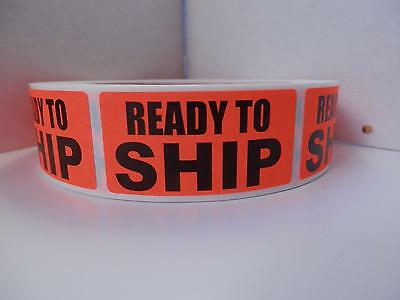 READY TO SHIP FBA  1x2 red fluorescent  Stickers Labels 500/rl