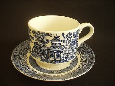 Churchill, Staffordshire - Cup & Saucer - Blue & White Willow Pattern