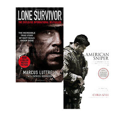 Military History Collection Lone Survivor, American Sniper 2 Books Set Pack NEW