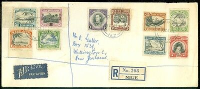 NIUE : 1947 Registered cover to New Zealand with Stanley Gibbons #78, 89-97.