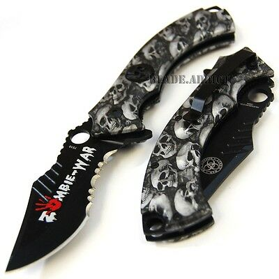 """8"""" Gray Zombie Tactical Combat Spring Assisted Open Rescue Pocket Knife 7510-T"""