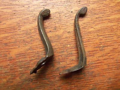 Two Antique Victorian Hand Wrought Iron Hat or Coat Hooks c1860 Unique