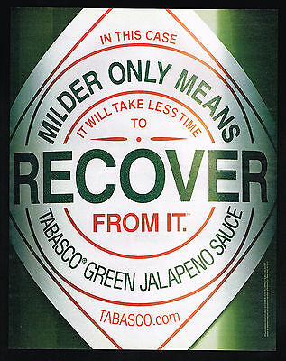 2002 Tabasco Green Jalapeno Pepper Sauce Recover From It Print Ad