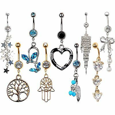 1Pc Steel Rhinestone Dangle Bar Barbell Button Belly Navel Rings Body Piercing