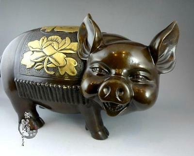 Excellent copper statue sculpture pigs carved peony flowers very beautiful