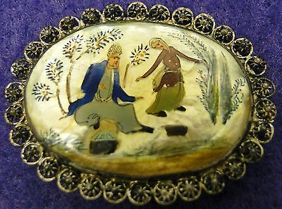 Antique Persian Silver Pin / Brooch Man and Dancing Woman Painting on Shell