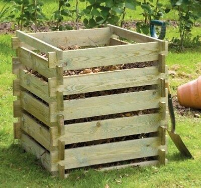 Wooden Composting Bin Composter Compost Garden Waste Small 373L by Lacewing™