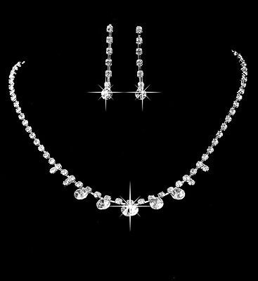 Tennis new Silver Wedding Necklace Set Crystal Wedding Bridesmaid Jewelry Gift