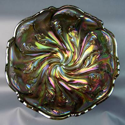 """IMPERIAL ACANTHUS ~ UNMARKED VINTAGE SMOKE CARNIVAL GLASS 8"""" BOWL"""