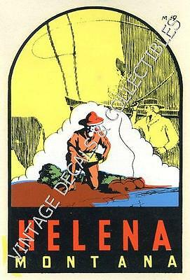 VINTAGE HELENA MONTANA SOUVENIR TRAVEL DECAL ORIGINAL WATERSLIDE STATE ART 1950s