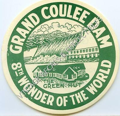 Vintage Grand Coulee Dam Washington Green Hut Souvenir State Travel Decal Label