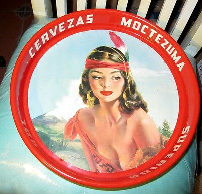 Vintage Cerveza Superior XX Sol Tin Tray 60's Beautiful Lady Made in Mexico