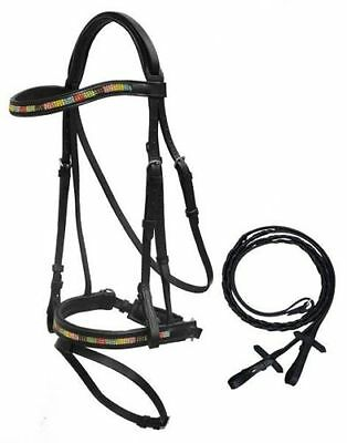 English Saddle Horse Bling! Padded Black Leather Dressage Or Eventing Bridle