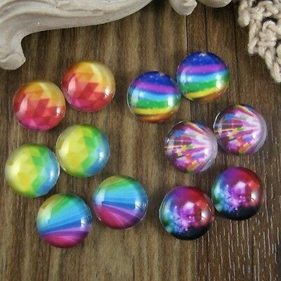 12pcs (6 Pairs) Glass Rainbow Delight Graphic Cabochon 12mm
