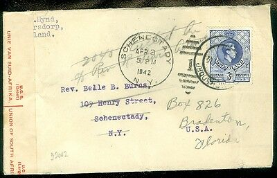 SWAZILAND : 1942 Registered, Censored & Forwarded cover to USA.
