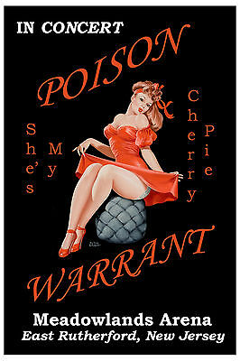 Poison and Warrant at Meadowlands Arena New Jersey Concert Poster 1990