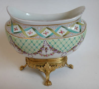 Antique ormolo mounted Serves porcelain sugar bowl of large proportions