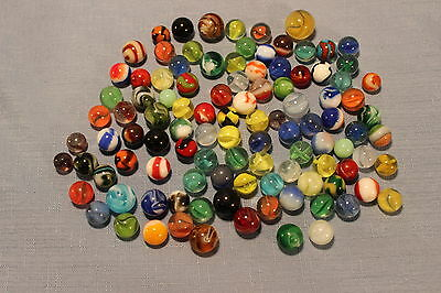 Vintage Lot of 105 Glass Marbles including Agates Swirls Ribbons and More