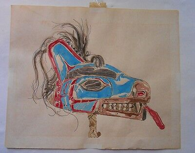 ORIGINAL old signed WATERCOLOR on PAPER of HAIDA MASK-NO RESERVE
