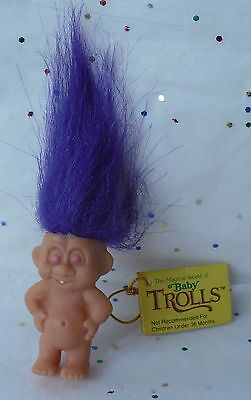 "Vintage 1992 Creata 1 1/2"" Magical Baby Troll Arms Side Purple Hair New With Tag"