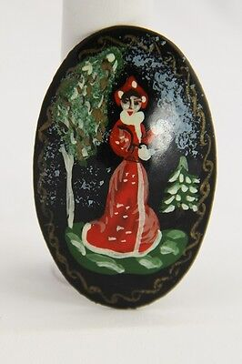 Vintage Russian Lacquer Fairy Tale Folk Snow Princess Maiden Tree Brooch