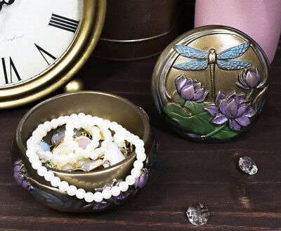 Art Nouceau Dragonfly Flitting Lily Over The Pond Round Jewelry Box Figurine