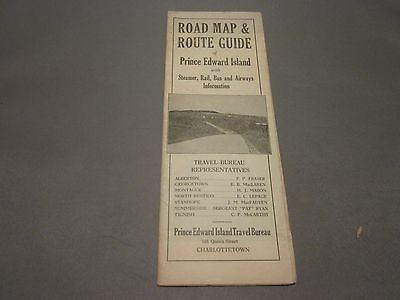 VINTAGE ROAD MAP & ROUTE GUIDE OF PRINCE EDWARD ISLAND
