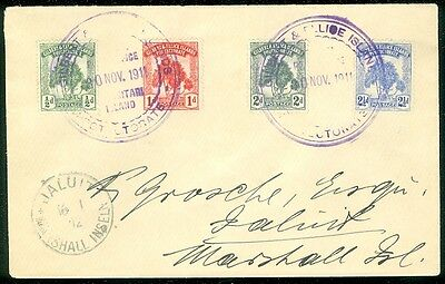 GILBERT & ELLICE : 1911 cover to Marshall Island franked w/#8-11 Scarce on cover