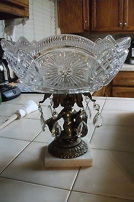Vintage Brass?? Cherub Crystal Fruit Bowl Ashtra Dolphin Fish Marble w/Crystals