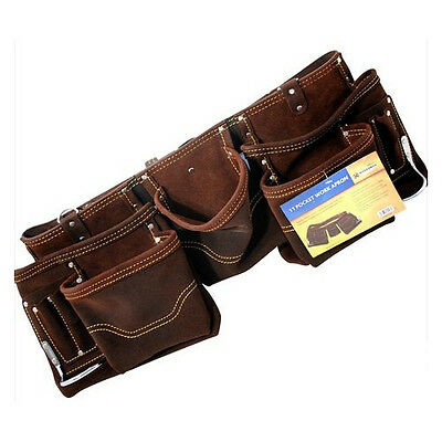 11 Pocket Double Oil Tanned Split Leather Tool Pouch Builders Bag Belt Storage