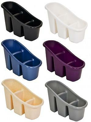 Plastic Narrow 3 Compartment Sink Tidy Filter Cutlery Drainer Caddy