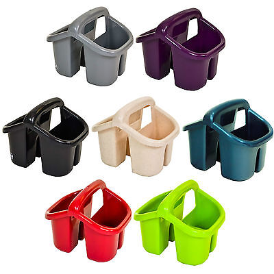 Plastic 4 Compartment Sink Tidy Cutlery Drainer Filter Caddy with Handle